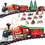 iBaseToy Christmas Train Set with Controllable Sound & Light, Battery Powered Train for Christmas Tree, kids Train Toy Set with 52'Railway Track & 4 Cars, Gift for 3 4 5 6 Year Old Boys Girls Toddlers