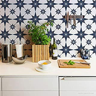 Star Tile Stencil - Painting Stencils - Paint Stencil - DIY Tiled Floor Pattern - Stenciled Floor Design - Painted Floor Tiles - Boho Bohemian Moroccan European Tile Design (Small 10