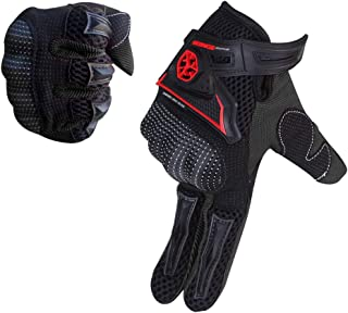 SCOYCO Motorcycle gloves men,Microfiber Knuckle Protective Breathable Portable Cycling Gloves for Motorbike/Scooter/ATV/MTB (Black,XL)