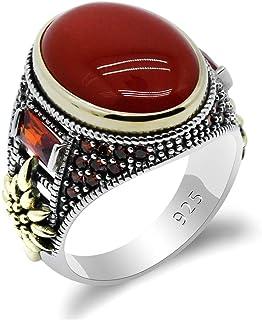 خاتم فاخر من فضة استرلينية 925 صلبة مرصع بحجر العقيق اليماني بصناعة تركية يدوية بتصميم عتيق للرجال من كيدا