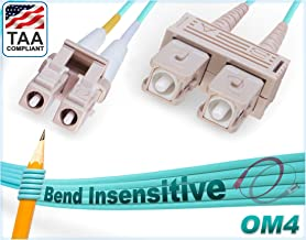 1M OM4 LC SC Fiber Patch Cable | Bend Insensitive Plenum 100G Duplex 50/125 LC to SC Multimode Jumper 1 Meter (3.28ft) | Length Options: 1M-300M | FiberCablesDirect - Made In USA | ofnp mmf lc/sc aqua