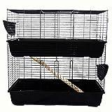 Easipet Large Indoor Rabbit or Guinea Pig Hutch Two Storey (100cm, Black)