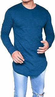 Camisetas Hombre Manga Larga Delgada del O-Cuello Ocasional Blusa de Las Tapas