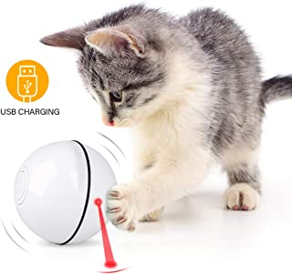 Unibelin Interactive Cat Toy Ball-Smart Pet Toy Self Rotation Rolling Ball USB Rechargeable Built-in LED Light for Cat Kitty Exercise Chase Play