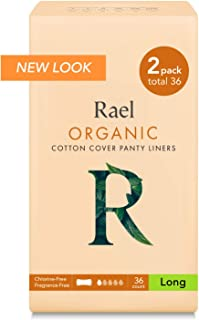 Rael Certified Organic Cotton, Unscented, Natural Daily Panty-Liners, Long, Pack of 2 (36 Count), 6.8 Inch
