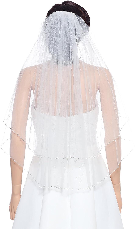 SAMKY 2T 2 Tier Crystals Silver Beaded Wedding Veil