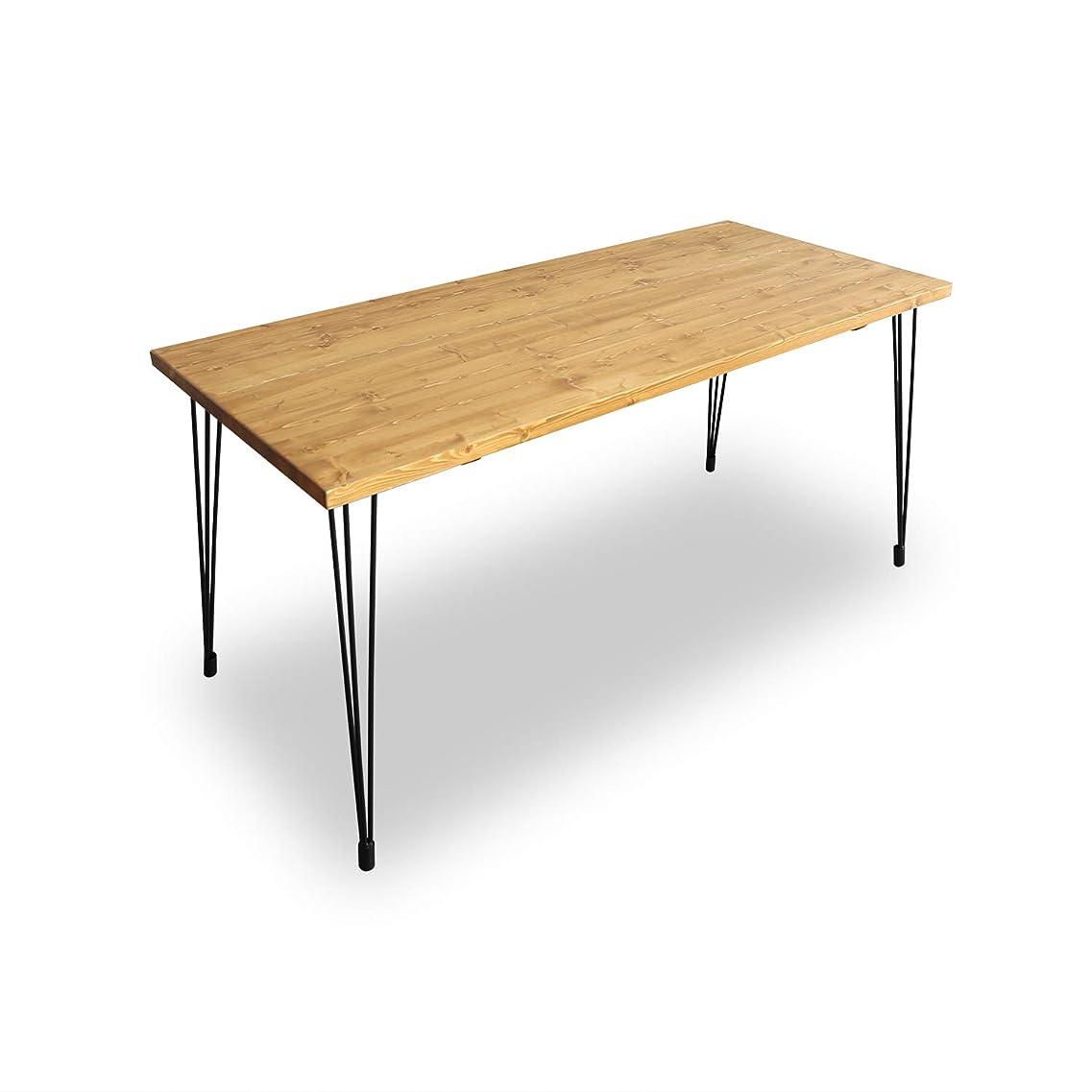 モネ情報コインLOWYA テーブル パイン無垢材 天然木 スチール脚 デスク ダイニングテーブル 幅160cm ライトブラウン おしゃれ 新生活