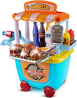 UNIH Pretend Playset Kitchen Toddler Toys Food Store Cart for Kids Birthday Gift