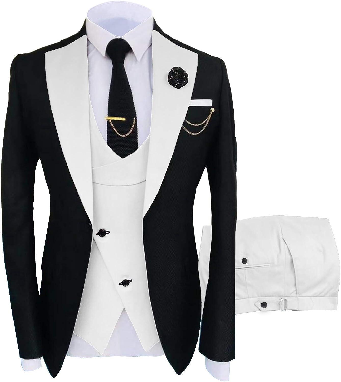 TOPG Men's One Button Slim Fit 3 Pieces Suits Business Suits Wedding Suits Prom Tuxedos
