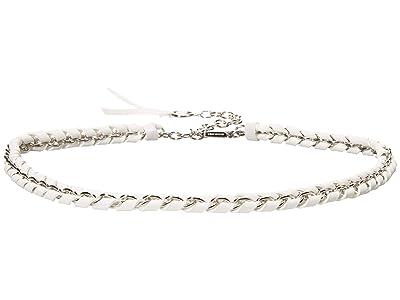MICHAEL Michael Kors Woven Leather Chain Belt (White) Women