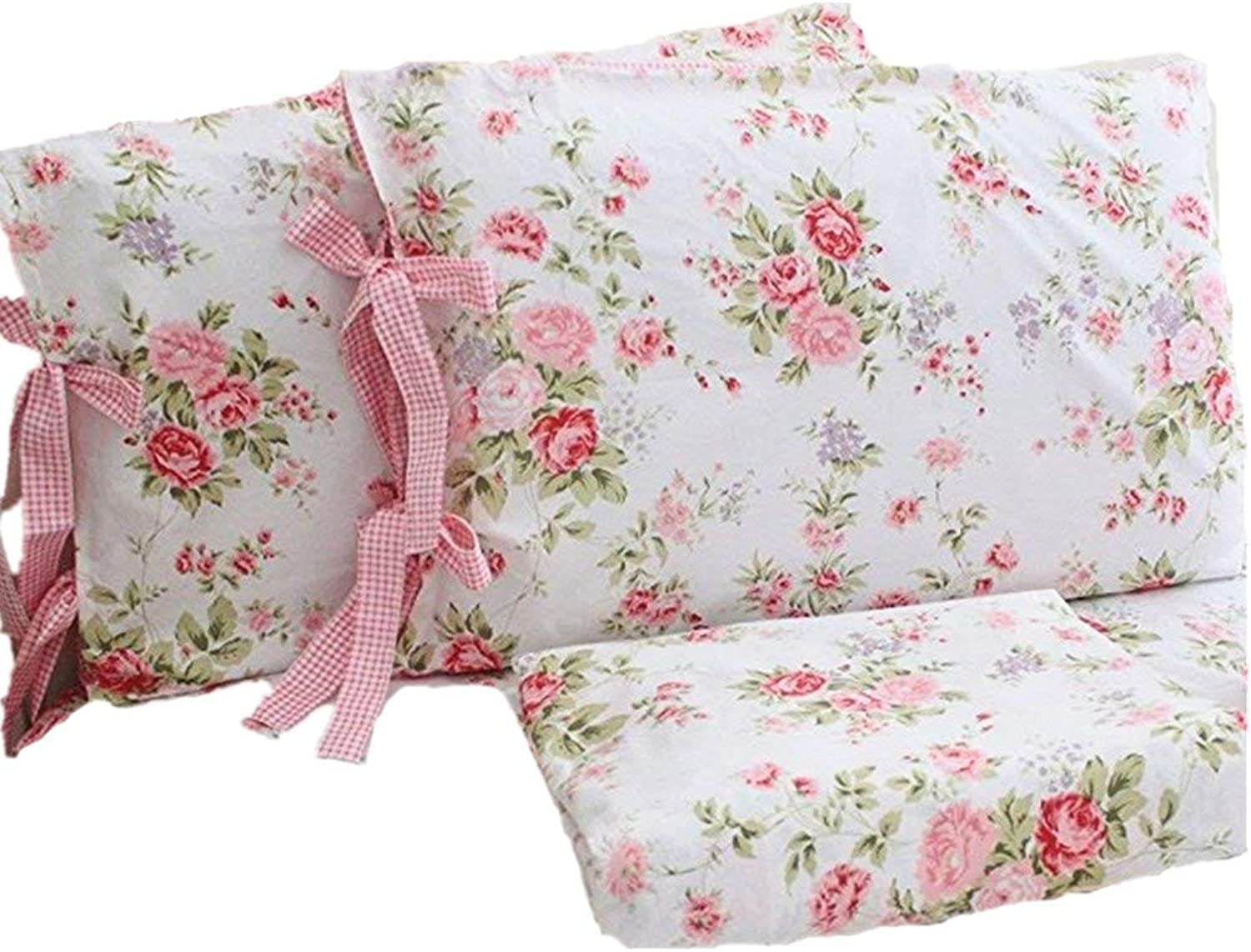Abreeze Cotton Bed Sheets Set Pink pink Floral Print Sheet Bedding 4-Piece King Size