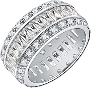 Lavencious 925 Sterling Silver Rhodium Plated with AAA CZ Stones Wedding Band for Women Size 6-10