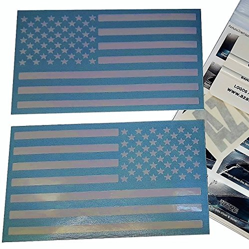 (White 4 x 7) Pair US American Flag Decal Sticker Die-Cut Az Auto Graphic Car Truck Free Squeegee Tool Subdued Tactical Motorcycle