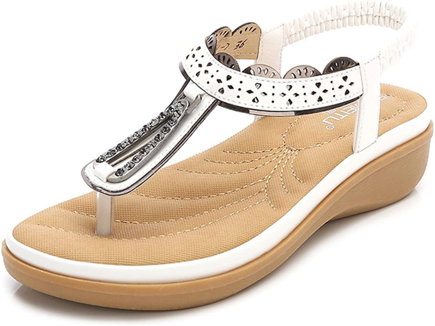 Baviue Women's Leather Fashion Summer Sandals Thong Sandles