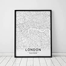 London Map Wall Art London Street Map Print London Map Decor City Road Art Black and White City Map Office Wall Hanging 11x14inch Unframed