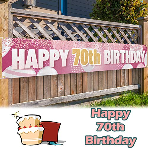LINGPAR 9.8 x 1.6 ft Large Sign Happy 70th Birthday Banner Gold Pink - Cheers to 70 Years Old Decor