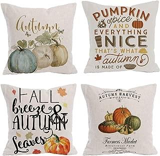 Royalours Pumpkin Spice Autumn Harvest Season Throw Pillow Covers Fall Halloween Pillow Covers Cotton Linen Square Decorative Pillowcase Throw Pillowslip Cushion Cover 18 x 18 Inches (Pumpkin Fall)