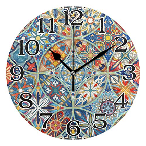 linomo Wanduhr, Ethnische Mandala-Blume, geräuschlos, Nicht tickend, runde Uhr für Küche, Wohnzimmer, Schlafzimmer, Badezimmer, Büro