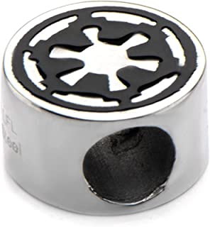 Official Stainless Steel Galactic Empire Symbol Bead Bracelet Charm