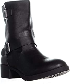 Womens Gianara Round Toe Ankle Motorcycle Boots, Black, Size 6.5