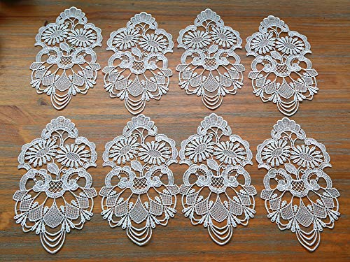 DOUKING 8 Pack Oval Lace Placemat Table Doilies Flower Embroidered Small Tablecloths Lace Decorative Mats for Tableware Crafts White 11 x 55 Inches White