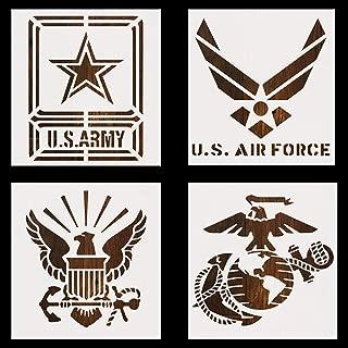 CrazyCharlie U.S. Military Stencil Template Set,4 Pack 5