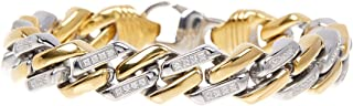 Men's 18k Gold Plated Stainless Steel CZ Encrusted Cuban Link Bracelet