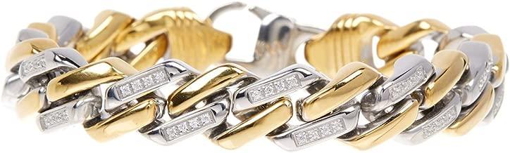 Blackjack Jewelry Men's 18k Gold Plated Stainless Steel CZ Encrusted Cuban Link Bracelet
