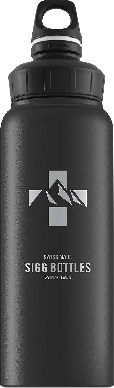 SIGG WMB Mountain Black Touch Botella cantimplora (1 L), botella con tapa hermética sin sustancias nocivas, botella de aluminio ligera