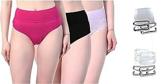 AQUAZZURA Women's Cotton Lycra Solid/Plain Multicolor Tummy Tucker Casual/Regular Panties Pack of 3