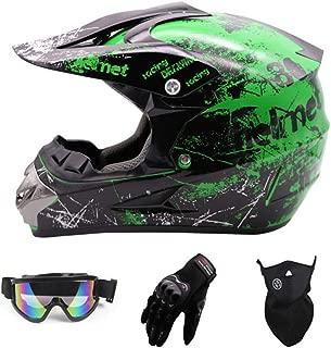 Sanqing Motocross Helmet,Full Face Motocross Quad Crash Helmet ECE Downhill Dirt Bike MX ATV Adult Motorbike Helmet Gloves, Goggles, Mask 4 Piece Set
