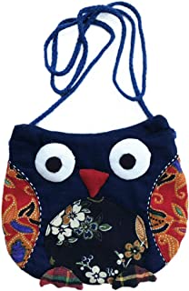 Vintage Embroidery Ethnic Owl CrossBody Shoulder Bag Handbag Purse Cute Bohemian Pattern Handmade Gifts for Girls Toddler Birthday Ideas Soft All Ages Beauty Fashion Dress up Playing (Pattern 1)