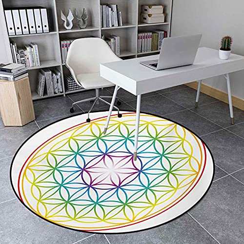 Round Area Rugs 3.9 Ft Floor Mat Carpet for Living Room, Flower of Life Pattern Radiant Colors Cosmic Dimension Space Forms Artful Print, Multicolor