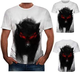 003016e0d3 Amlaiworld Camisetas Hombre Manga Corta Tallas Grandes Moda Camisa de  impresión Lobo para Hombre Camiseta de