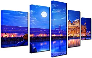 ZHFFYY Wall Art 5 PiecesHome Decor Wall Art Modular Living Room Canvas Posters 5 Pieces Indian Golden Temple Paintings HD Printed Pictures Frame