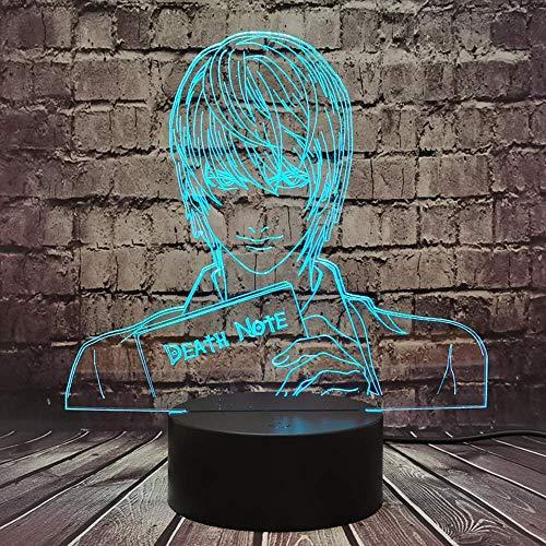 Death Note Lámpara Japón Anime Figura Yagami Luz para Niño Sala de Dibujos Animados Lámpara de Noche Mesa LED 7 Color USB Estado de ánimo Brillo Fiesta Cumpleaños Amigo