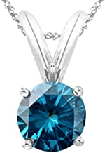 1/2-5 Carat Round Blue Diamond 4 Prong Pendant Necklace (AAA Quality) W/ 16
