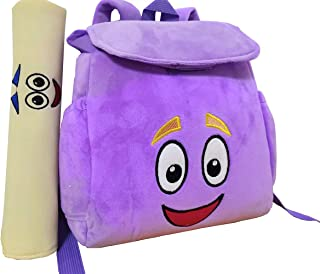 12inch Dora Explorer Backpack Rescue Bag with Map,Pre-Kindergarten Toys Purple Plush Backpack (Crystal purple Dora Backpack)