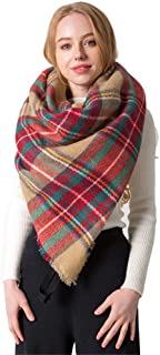 Womens Scarfs Long Shawl Wraps Warm Large Scarves Colorful Plaid Square Scarf