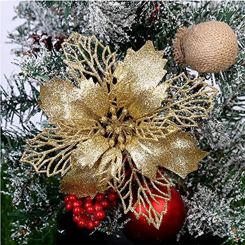 Queta 12 Stück Christmas Glitter Poinsettia Weihnachtsbaum Ornament Weihnachtsblumen künstliche Blumen Christbaumschmuck Weihnachten Hochzeit Kränze Dekoration 16cm (Gold)