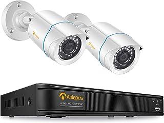 Anlapus 1080P Kit Videovigilancia Sistema de Seguridad 8 Canales H.265+ Grabador DVR con 2 Cámara de Vigilancia Exterior sin Disco Duro Visión Nocturna P2P