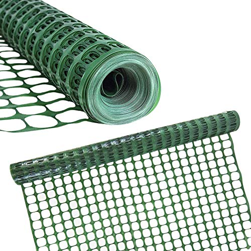 Houseables Plastic Mesh Fence, Construction Barrier Netting, Green, 4'x100' Feet, 1 Roll, Garden Fencing, Fences Wrap, Above Ground, for Snow, Poultry, Chicken, Safety, Deer, Patio, Garden Netting