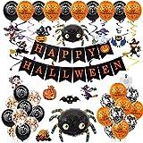fenihooy 49 Pezzi Kit di Palloncini di Halloween, Decorazione Halloween Palloncini con Happy Halloween Banner, Palloncino in Lattice, Palloncino Foil, Feste per Halloween Festival Fantasma-Ragno