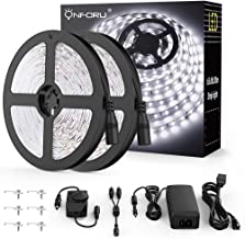 Onforu 66ft Dimmable LED Strip Lights Kit, UL Listed Power Supply, 6000K Daylight White, 20m 1200 Units 2835 LEDs, 12V LED Rope, Under Cabinet Lighting Strips with Dimmer, Non-Waterproof LED Tape