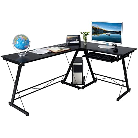 hj HLC Escritorio de computadora con Bandeja para Teclado. Oficina/Estudio,Color: Negro