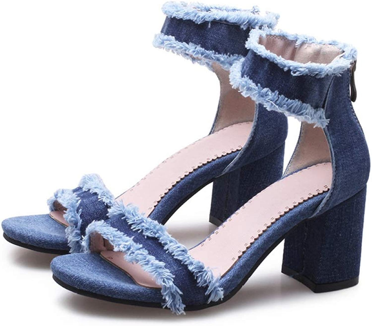 T-JULY Sandals for Women Summer Ankle Straps High Heels bluee Denim Jean Fashion Ladies shoes