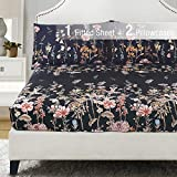 YEPINS Microfiber Fitted Sheet, Floral and Branch Printed Pattern Design Black Background, Queen Size- 3 Piece(1 Fitted Sheet and 2 Pillowcase)