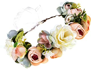Eralove Women Flower Headband Wreath Crown Floral Wedding Garland Wedding Festivals Photo Props