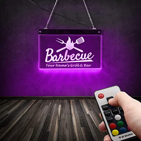 Home Bar Indoor//Outdoor LED Lights Personalised Patio Barbecue Wall mounted