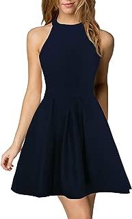Women's Halter Neck A-Line Semi Formal Short Backless Black Cocktail Party Dress